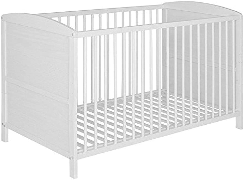 Best For Kids Gitterbett 2 in 1 Patrick 70x140 cm mit Matratze 10 cm Juniorbett Kinderbett Babybett in zwei Farben (Wei)