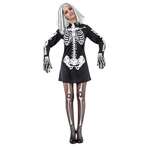 Ciao-Costume Skeleton Woman, taglia unica adulto Donna, Nero, 62142