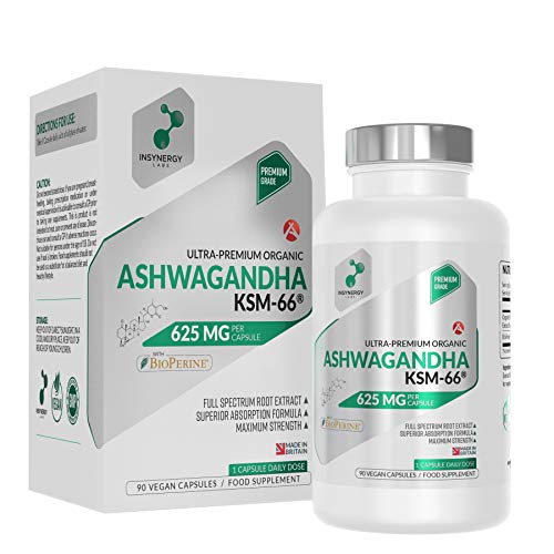 Ultra Premium Organic Ashwagandha Capsules 625mg | Highest Strength Anxiety Relief KSM-66 Supplement in The UK | Strongest Ashwagandha Stress Relief Support Available | 90 Vegan Capsules