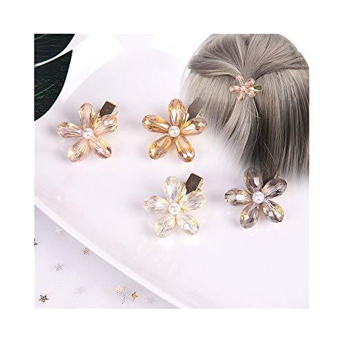 Pasador de pelo con perla de cristal, para niñas, bodas, novias, flores, pinzas, pinza de pelo, pinza de cristal, pinza para la cabeza, 4 unidades