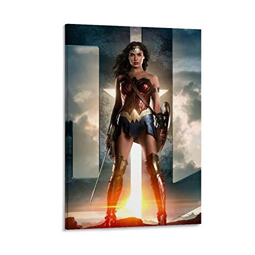 Stampa su tela con immagini di drago e personaggi famosi, biografia, Wonder Woman, supereroe, podio, 40 x 60 cm