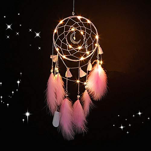 Nice Dream Traumfänger mit LED Licht, Handgemachte Dreamcatcher mit Federn, Maiden Zimmer Schlafzimmer Romantische Dekoration, für Wandbehang Wohnkultur Ornamente Handwerk (Rosa)