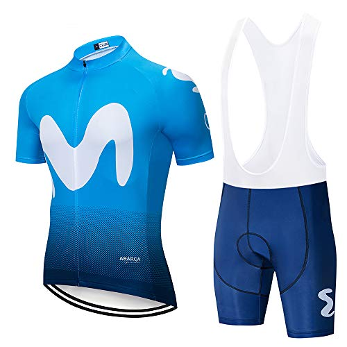 Completo Abbigliamento Ciclismo Uomo Tuta Bici da Corsa Estivo Maglia MTB Manica Corta + Pantaloncini Imbottiti