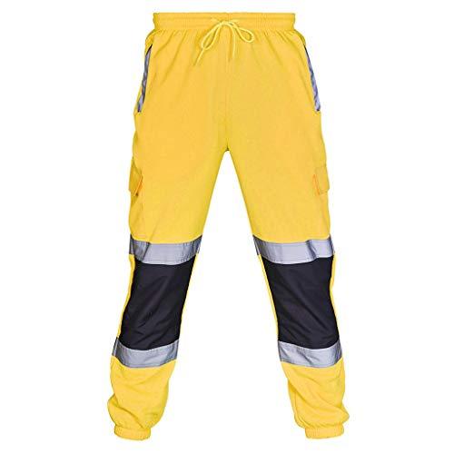 Riou Arbeitskleidung Set, Herren Arbeits Hoodie Sweatshirt mit Reflektierendes Band Sichtbarkeit Outdoor Arbeitsjacke und Männer Latzhose Arbeitshose (S, Gelb B)
