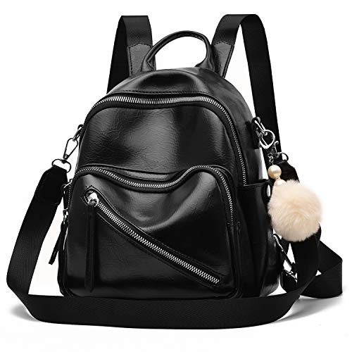Barsine Vegan Leather Mini Backpack Cute Convertible Shoulder Bag for Girls Women, Black, Small