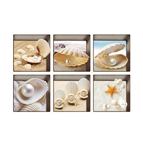 6 Stück 13x13cm 3D Effekt Anti Rutsch Aufkleber Sticker Klebefolie für Badewanne, Wasserdicht - Muscheln