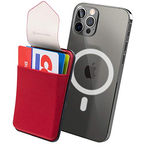 Sinjimoru Magnetic Wallet Compatible with iPhone 12 Magsafe, Phone Wallet Stick on as Detachable Phone Card Holder for Back of Phone. Sinji Pouch M-Flap. Rosso