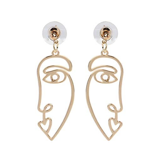 JERKKY Hollow Face Abstract Hand Shape Gold Statement Drop Earrings Fashion Jewelry 05#