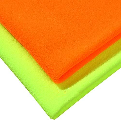 Neotrims Floreciente,Naranja de alta visibilidad,Tela de forro polar amarillo lima,Acabado anti-píldora,Peso medio 320 gramos,Tela de calidad y artesanía. Flo Orange, Fat Square