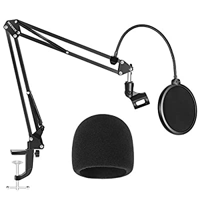 Neewer NW-35 Microphone Stand with Microphone Windscreen Foam and Dual-layered Mic Pop Filter - Suspension Boom Scissor Arm Stand Kit (NOT Compatible with Blue Yeti, Snowball, Blue Spark)