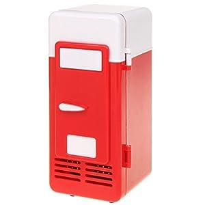 ThreeH Petit réfrigérateur USB Refroidisseur/réchauffeur Boisson Bebe minibar réfrigérateur pour Ordinateur Portable PC de Bureau H-UF05Red