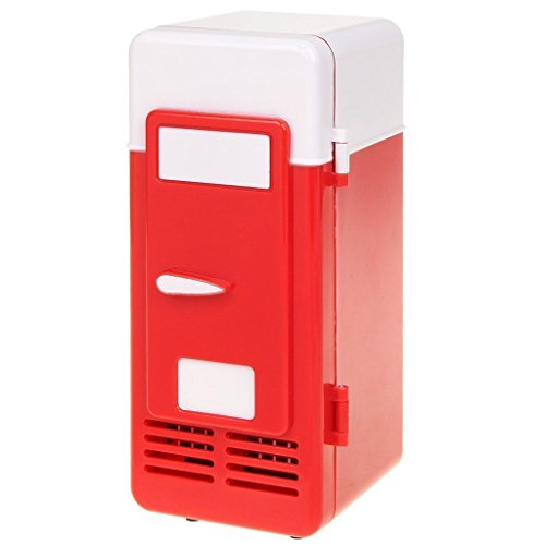 ThreeH USB Minifrigo Birra Refrigeratore/Riscaldatore Frigorifero Portatile for Bevande in lattina H-UF05Red