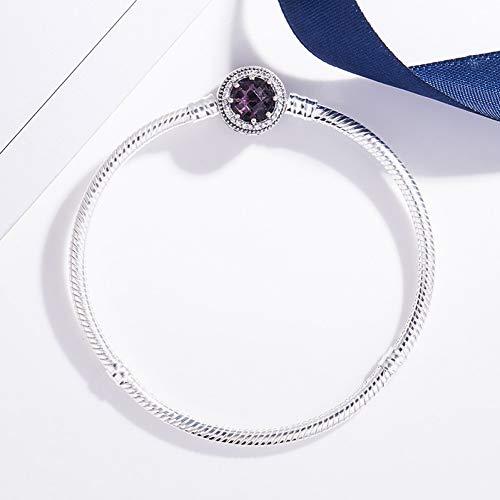 HMKLN Original 925 Sterling Silber Durchbrochene strahlende Herzen mit lila Kristall Pandora Armband Armreif Fit Frauen Bead Charm Schmuck
