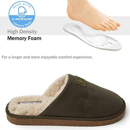 Dunlop Zapatillas Casa Hombre, Memory Foam Pantuflas Peluche Abiertas, Zapatillas De Estar En Casa Invierno Calientes Suela de Goma Dura Interior Exterior, Regalos para Hombre (44 EU, Caqui)