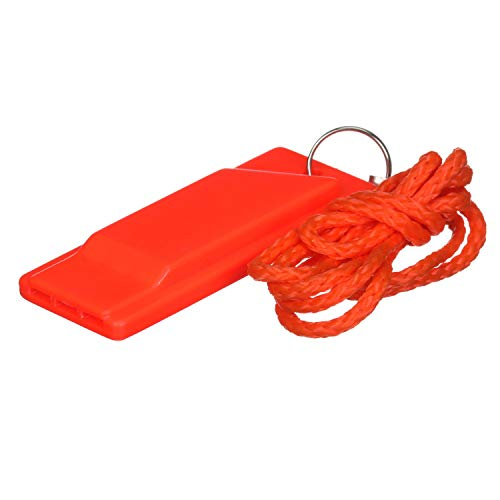 Attwood 11829-6 Safety Whistle, Plastic, Flat Type, No Interior Ball, Delivers Emergency Signal, Includes Lanyard