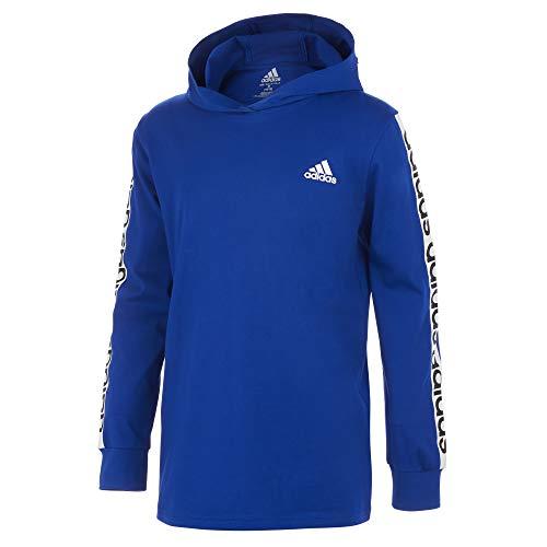 adidas Boys' Long Sleeve Cotton Jersey Hooded T-Shirt Tee, BoS Linear Royal Blue, Medium