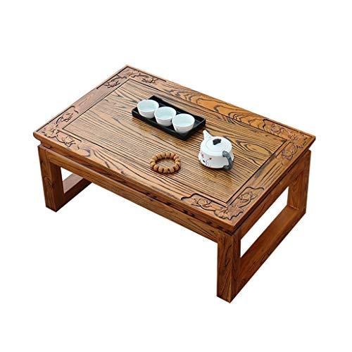 Tables Basses De Salon Basse en Bois Massif Fenêtre Sculptée Basse Tatami Bureau D'échecs Balcon Petite Basse D'ordinateur Basses