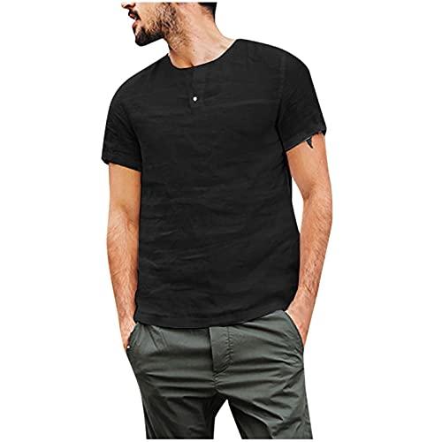 FOTBIMK Blusa de los hombres Slim Algodón Lino Sólido Manga Corta Botón Retro Camisetas Tops Blusa