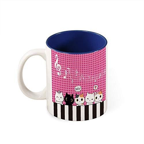 Taza de color en el interior de los gatos de dibujos animados de tamaño pequeño a mediano con diseño de piano y música, el mejor regalo de cumpleaños, cerámica, Estilo marino1, talla única