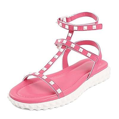 Sky-Pegasus Summer Rome Warren Wind Flat Bottomed Toe Rivet Straps Leather Sandals Soft Bottom Tide Shoes