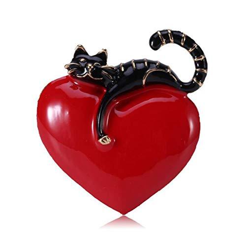 Impression Brosche Katze Form Herz bedeckt Schönheit Brosche Pin Schals Clip Manton für Frauen Damen