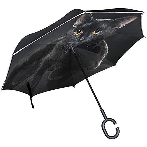 Wheatleya Ombrello Black Cat Ombrelli inverso per Auto Protezione Antivento Pieghevole con Impugnatura a Forma di C.
