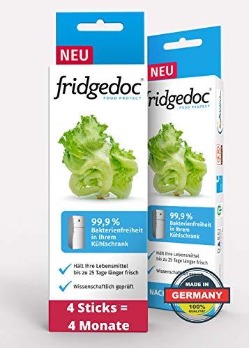 Fridgedoc - 4 Sticks - Kühlschrankreiniger & Geruchsentferner - entfernt Viren, Bakterien ohne lästiges Putzen für 4 Monate - 99% weniger Krankheitserreger - hält Obst und Gemüse länger frisch