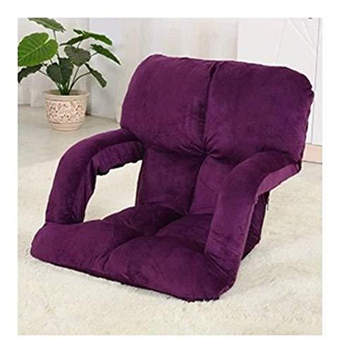 Sheeouis Sofá Perezoso Plegable Textiles para el hogar Privado Piso Lazy Sofa Tatami Cama Individual Creativa Plegable de Ocio Reclinador (Color: Negro) (Color : Purple)