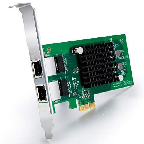 ipolex 1G Dual Netzwerkkarte PCI Express Intel E1G42ET - 82576 Chip, Gigabit PCI-E LAN Card, 2 RJ45 Ports NIC für Windows Server, Linux, VMware ESX, MEHRWEG