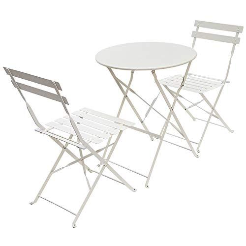 LJLYL Mesa Plegable y Juego de sillas con 2 Silla Plegable Sencilla Metal de la Manera de la decoración de la Sala pequeña Tabla para la Cocina Sala de Estar Balcón Jardín,Blanco,Round