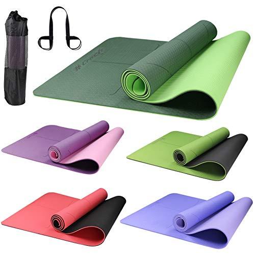 Croch Yogamatte rutschfest Schadstofffrei aus TPE Super als Sportmatte Fitnessmatte Gymnastikmatte und Joga Matte 183x65cm mit Tragegurt und Tasche