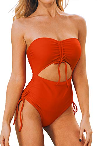 LEISUP Womens Ruched Front Off Shoulder Tube Top Swimsuit Tummy Control One Piece,Orange M