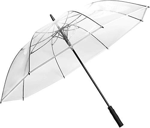 Wasing 62inch Transparenter Regenschirm Leichter Extra Large Klarer Automatischer Golf Umbrellas Winddicht Weißer Durchsichtiger Stockschirme Partnerschirm Sturmfest Golfschirm für Hochzeit Frauen
