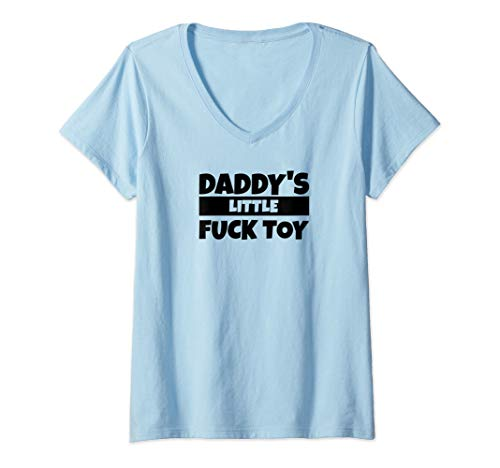 Womens Daddy's Little Fuck Toy V-Neck T-Shirt