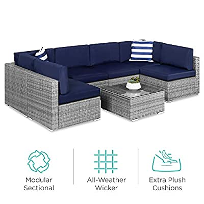 Best Choice Products 7-Piece Modular Outdoor Conversational Furniture Set, Wicker Sectional Sofas w/Cover - Gray/Navy