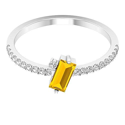 Anillo solitario de zafiro amarillo de 3/4 CT con piedra lateral de diamante (zafiro amarillo creado con corte baguette de 3x6 mm), 14K Oro blanco, laboratorio de zafiro amarillo creado, Size:EU 46