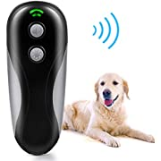 Bark Control Device, 2-in-1 Ultrasonic Dog Bark Deterrent, Handheld Dog Training Tool of 16.4ft Range, W/Anti-Static Wrist Strap LED Indicate for Outdoor Indoor