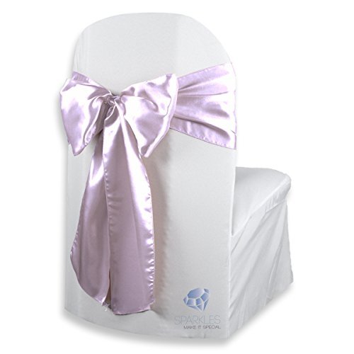 Sparkles Make It Special 50 pcs Satin Chair Cover Bow Sash - Lavender - Wedding Party Banquet Reception - 28 Colors Available