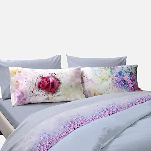 COGAL - Completo di Lenzuola Matrimoniale - Flower Power - Fantasia Floreale Colorata, Disponibile in Vari Colori, Materiale 100% Cotone - Made in Italy