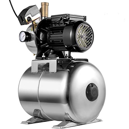 VEVOR Shallow Well Jet Pump 3/4 HP, Jet Pump 14.5 GPM, Stainless Steel Well Jet Pump 147.6 ft Max. Head with 6.6 Gallon Tank, Pressure Booster Pump, Shallow Well Self-priming Jet Pump System