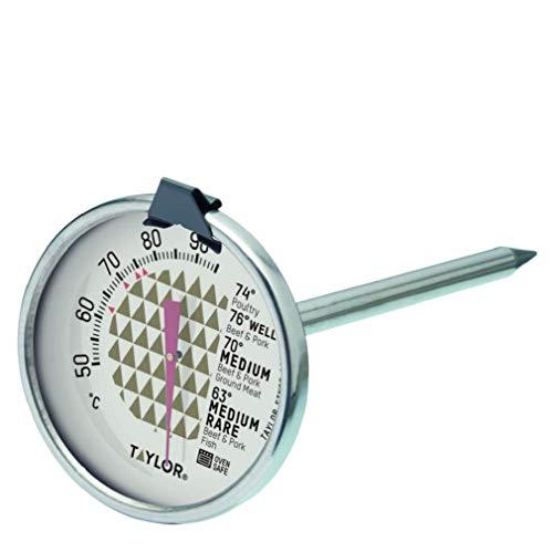 Taylor Termómetro para Carne, Indicador de Temperatura con Sensor Apto para Horno, adecuado para Carne, Pescado y Barbacoa, Sonda con Tabla de Cocción, Acero Inoxidable