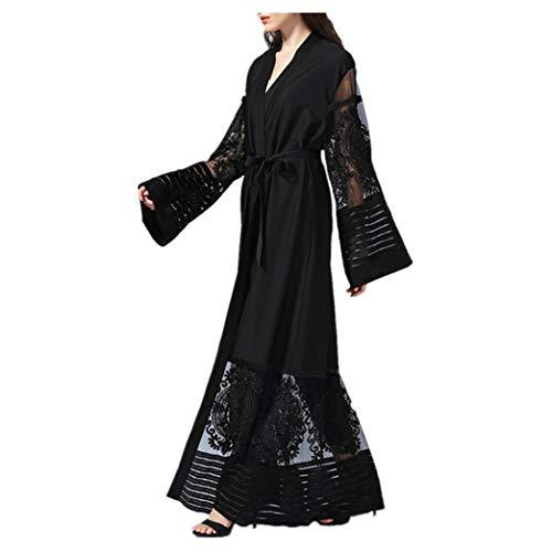 Dame Maxi Kleid Strickjacke Kleidung - Muslim Islamisch Roben Frau Langer Rock Volle Ärmel Dubai Abaya Gebet Mantel Schwarz L