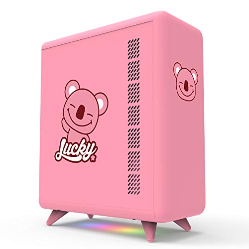 GOLDEN FIELD Q3056-P Small Form Factor Mini-ITX PC Case, Computer Case with Bottom ARGB Lighting Strip(Pink)