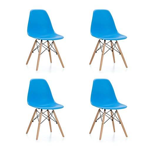 Sillas Comedor Tower Azul - (Pack de 4) - Estilo nórdico - Patas de Madera - Asiento Polipropileno