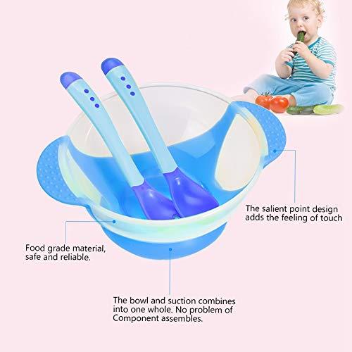 banapo Praktische Baby-Saugnapfschale aus Silikon, praktisches Baby-Geschirrset, für Kleinkinder-Babys(Blue)