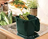 Buttacup 7 Litre Premium Quality Kitchen Caddy Food Waste Bin / Indoor Compost Material Food Collection Bin - Dark Green Tough Outer Plastic with Locking Black Carry Handle – Odour-Free Design