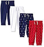 Amazon Essentials Baby Boys 4-Pack Pull-on Pant, Blue/Red/White, 3-6M