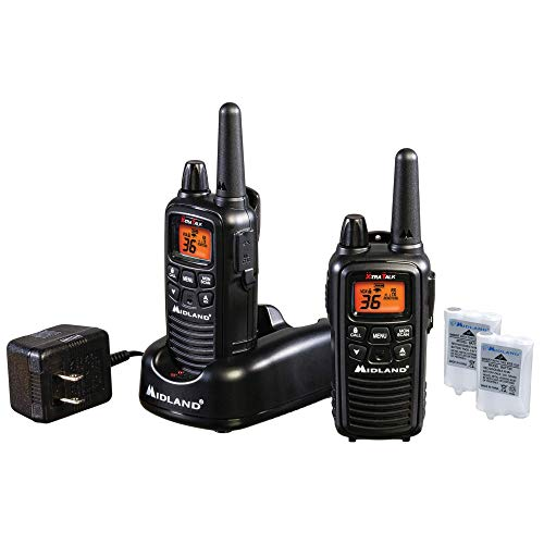 Midland - LXT600VP3, 36 Channel FRS Two-Way Radio - Up to 30 Mile Range Walkie Talkie, 121 Privacy Codes, NOAA Weather Scan + Alert (Pair Pack) (Black)