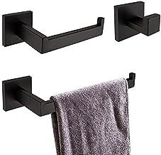 Turs 3 piezas de baño accesorio conjunto sus 304 inoxidable acero inodoro soporte de papel toalla bar/soporte albornoz gancho de pared, negro mate, A7010B