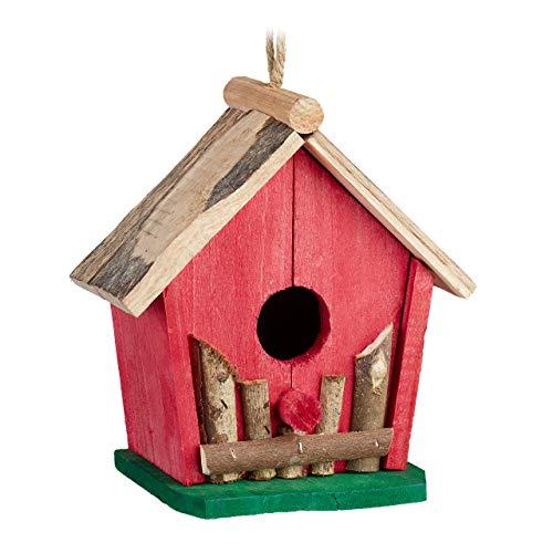 Relaxdays Mini Vogelhaus, zum Aufhängen, für Balkon & Garten, Holz, Deko Vogelhäuschen, HBT 18 x 17 x 11 cm, rot/grün
